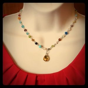 Handmade Beaded Necklace Faux Citrine Pendant